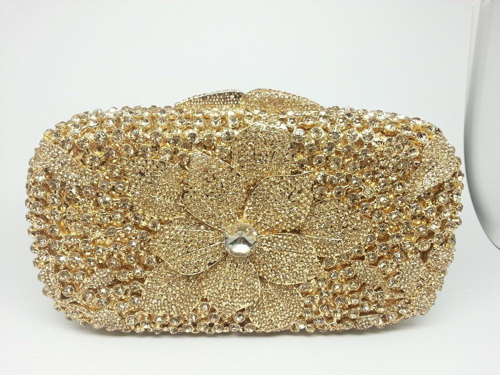 Elegant Wedding Gold Crystal Bride Clutches Party Evening Lady Bags Women Purses Diamond Clutch Bag Box Metal Minaure Handbag In From