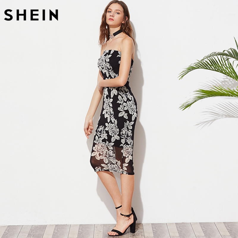 3e2c6320ce SHEIN Women Summer Black Flower Print Bandeau Midi Dress Sexy Club Dress  2017 Strapless Sleeveless Elegant Dress