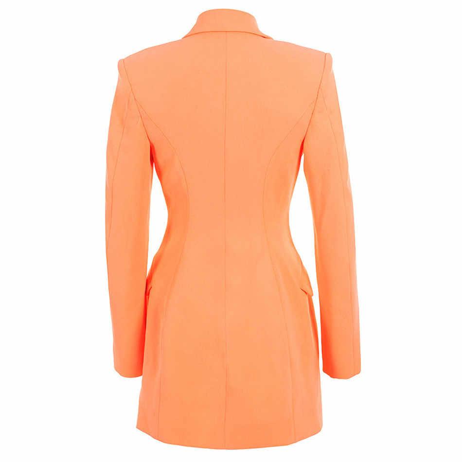 Элегантный мини-Женский костюм платье двубортный пиджак OL кардиган с пуговицами женское платье блейзер
