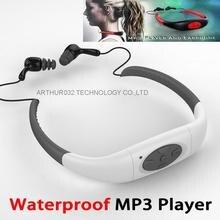 DHL libre 8 GB Reproductor de Música MP3 Impermeable Subacuática Buceo de Natación Surf SPA Deportes Neckband Auriculares Estéreo Manos Libres de Radio FM