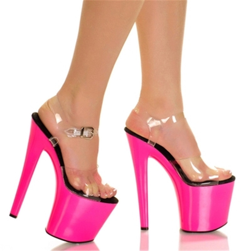 New promotion 20cm ultra high heel sandals thin heel club pole dancing shoes rose red wedding shoes