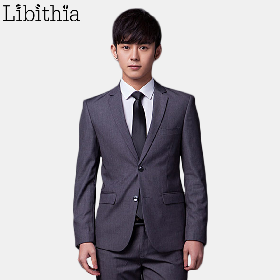 Libithia Formal Slim Fit Wedding Suits For Men Male Black