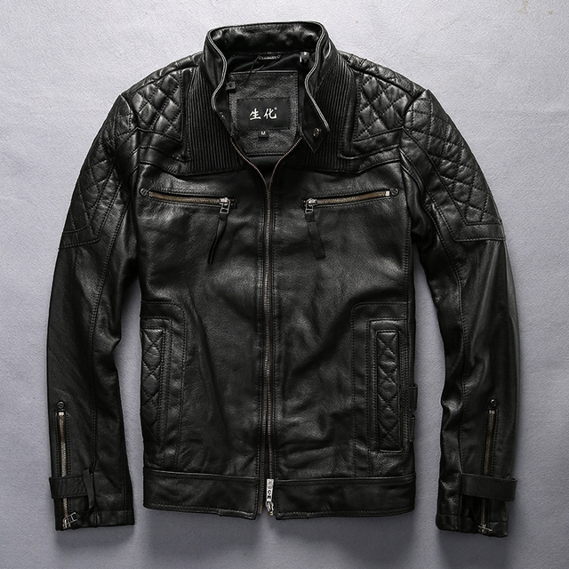 Read Description! Asian size motorcycle rider jacket mens leather jacket man's genuine cowhide embroidery skull leather jacket