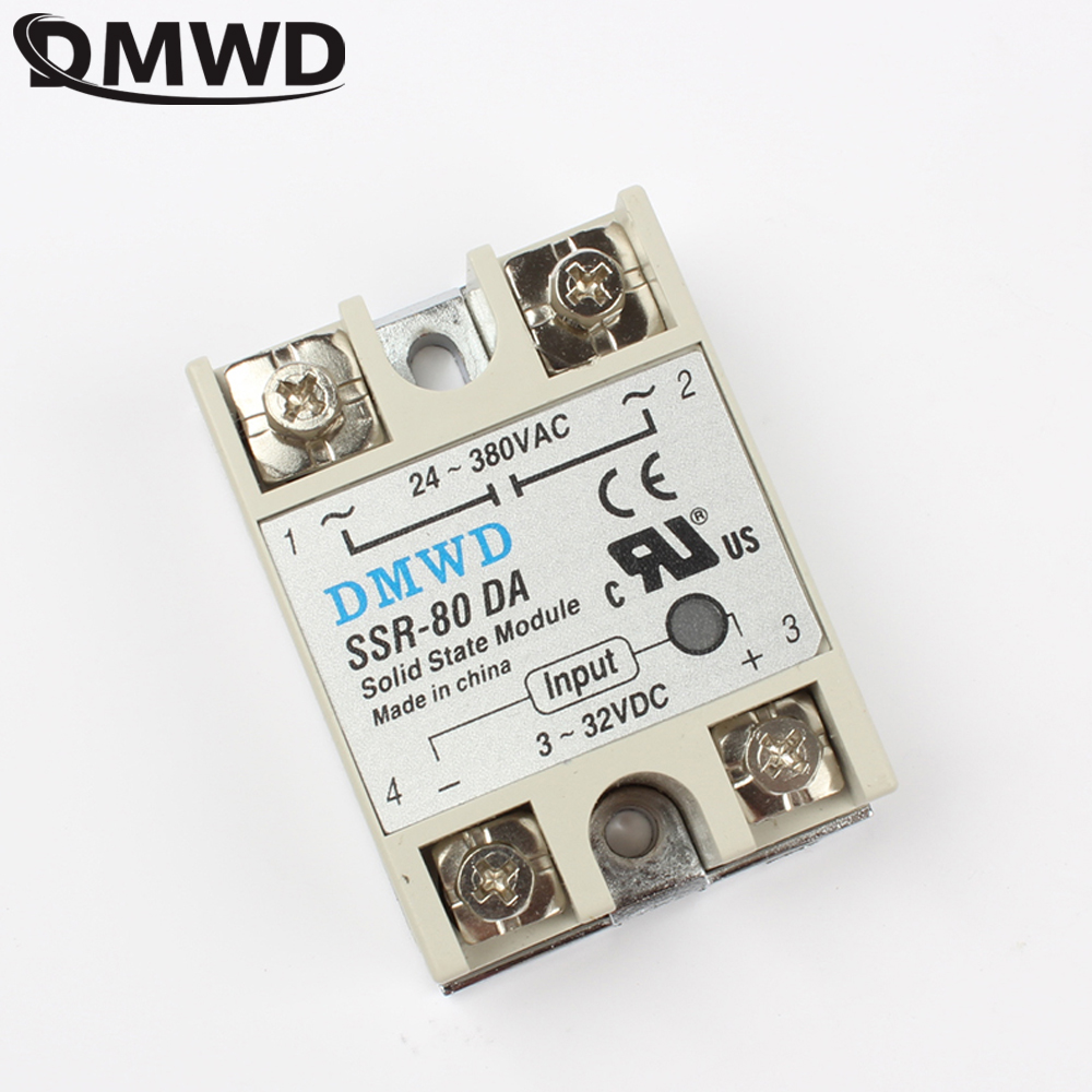 TOP BRAND DMWD solid state relay SSR-80DA 80A DC TO AC SSR 80DA relay solid state 3-32 DC TO 24-380V AC DA new and original sa34080d sa3 4080d gold solid state relay ssr 480vac 80a