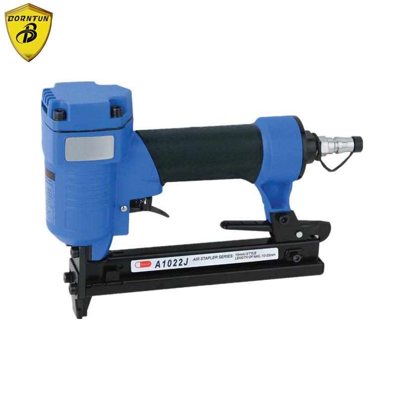 Air Stapler A1022J-C Pneumatic Nail Nailer Gun Narrow Crown Pneumatic Stapler 10mm U Style Nail 10-22mm 4-7BAR 60-110psi Staples