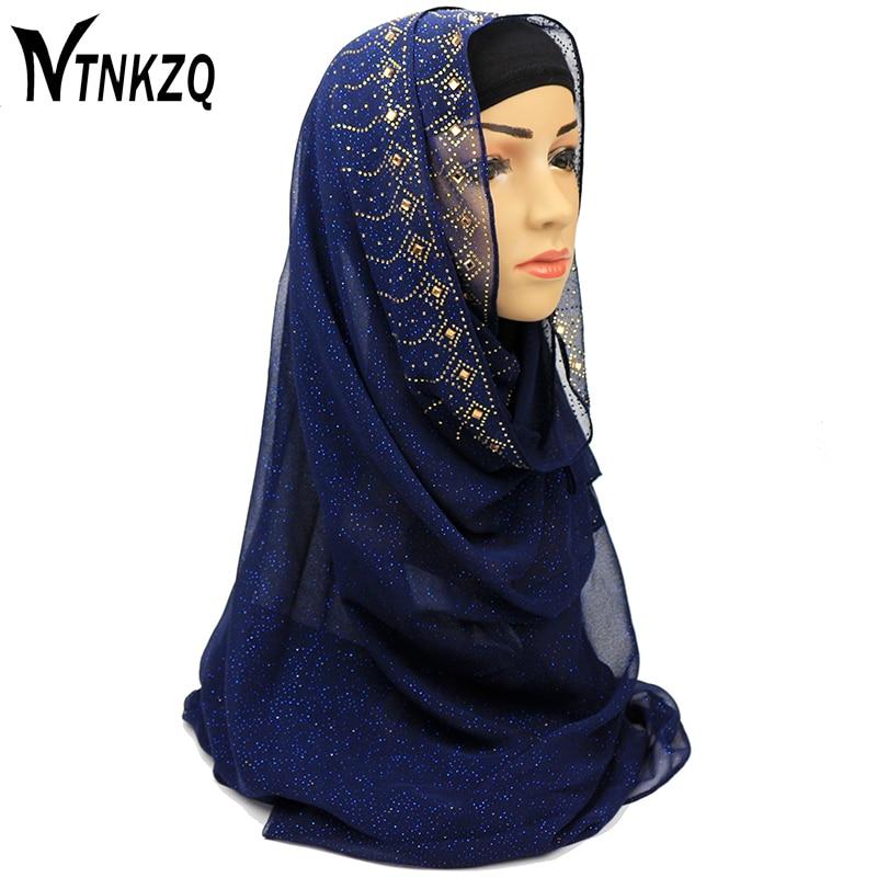 [NTNKZQ]Shinny Crystal Muslim Hijab Printed Instant Shawls J