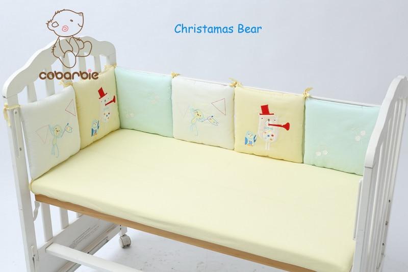 6Pc / ლოტი ჩვილი ბავშვის Crib ბამპერის საწოლი Protector Baby საბავშვო plush Cot ბაღები საწოლები საშობაო Bear Monkey Pilliow Cushion