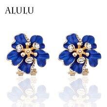 Фотография ALULU Fashion Blue Flower Female Ear Clip Plated Gold Ear Clip Rhinestone Earrings For Women Jewelry brincos