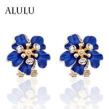 Alulu Модные женские серьги клипсы с синим цветком позолоченные