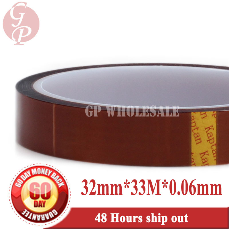 Free shipping! 32mm*33 meters, 0.06mm thick, High Temperature Resistant , Insulation Polyimide Film Tape, One Side Adhesive free shipping  32mm 33 meters  0 06mm