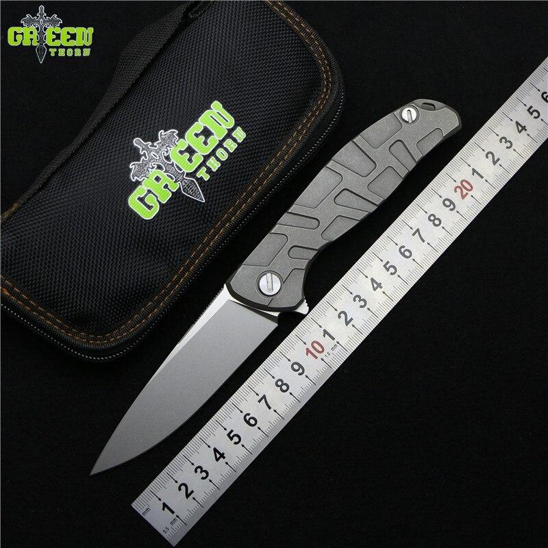 Vert épine Flipper 95 M390 acier Nudiste/T mode titane poignée camping en plein air chasse poche fruit pliant couteau EDC outils