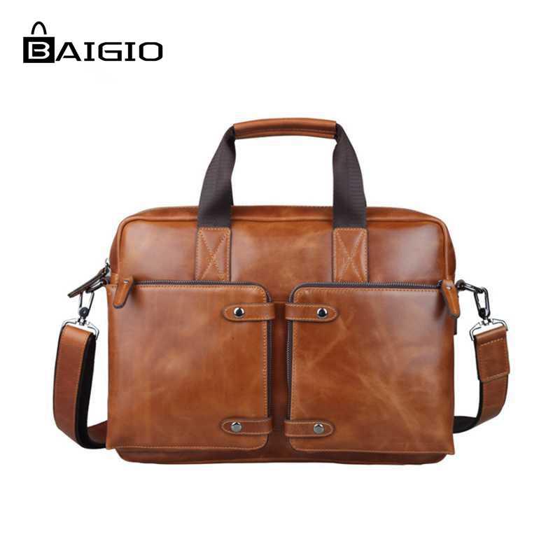 Baigio Men Leather Briefcase For 14.5u0026quot; Laptop Business Bag Designer Italian Leather Messenger ...