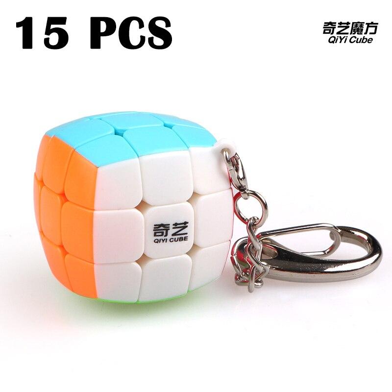 15 PCS QiYi Porte-clés 3x3x3 Mini Magic cube Vitesse Lisse Rotation 30mm Puzzle cube Non autocollant Cubo magico Classique Jouets Neo Cube
