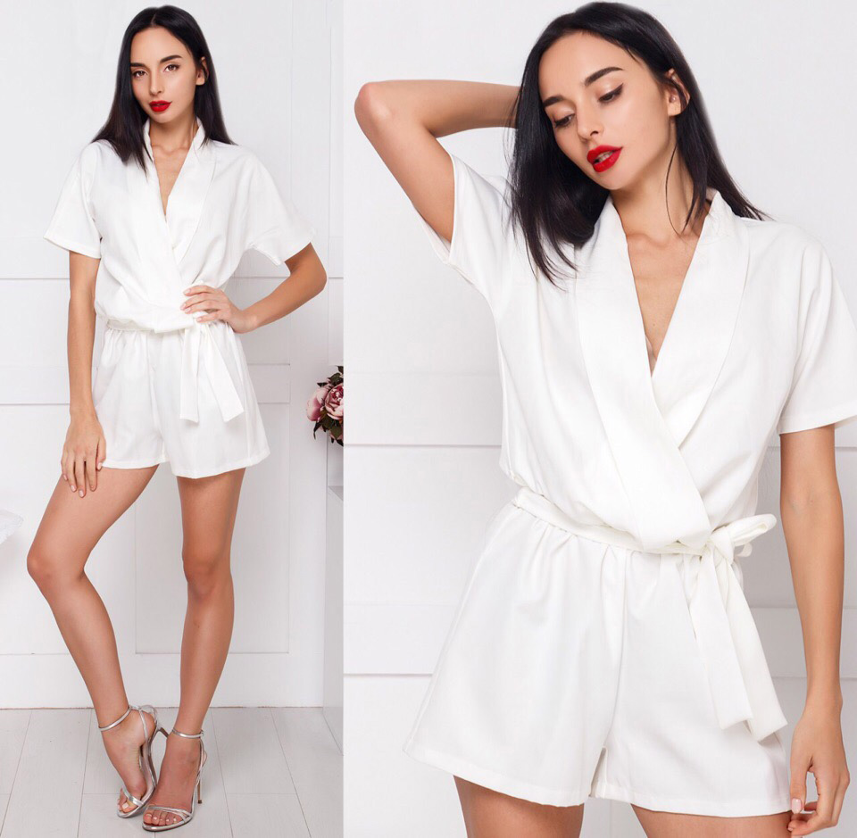 2018 summer new fashion women's v-neck Sashes jumpsuit casual belt elegant short-sleeved Party Ladies overalls Prom Playsuits