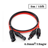 1pair X 4mm2 12AWG 15FT 5m MC4 Connector Extension Connect branch black parallel Series 5 meter extend cable