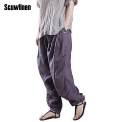 Scuwlinen 2017 women pants linen harem pants pleated loose trousers wide leg solid pants casual pants.jpg 250x250