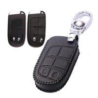 Teeze Nuovo Sacchetto di Cuoio 2 Tasto Chiave A Distanza Caso Fob Holder Catena Per Dodge Serie A-Type