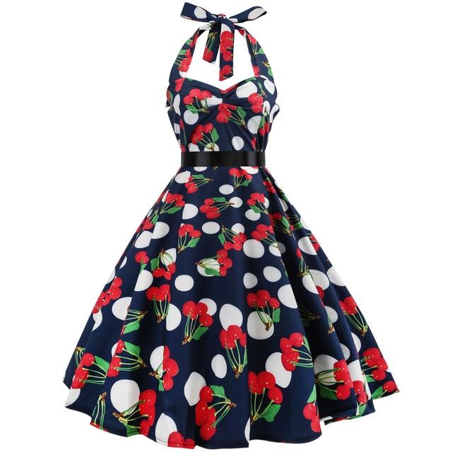 Cherry Print Robe Vintage 50s Rockabilly Dress 2018 Fashion Summer Dresses for Women Halter Elegant Big Swing Knee-Length Dress