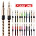 8 цветов Дополнительный Универсальный 1,5 M 3 M USB кабель с 3,5 мм липучки Плетеный аудио кабель со штыревыми соединителями на обоих концах для по...