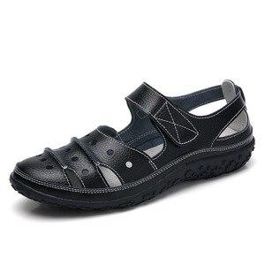 Image 4 - Sandalias de mujer 2019, novedad de verano, zapatos de cuero hechos a mano para mujer, sandalias de cuero, Sandalias planas para mujer, zapatos de Madre de estilo Retro