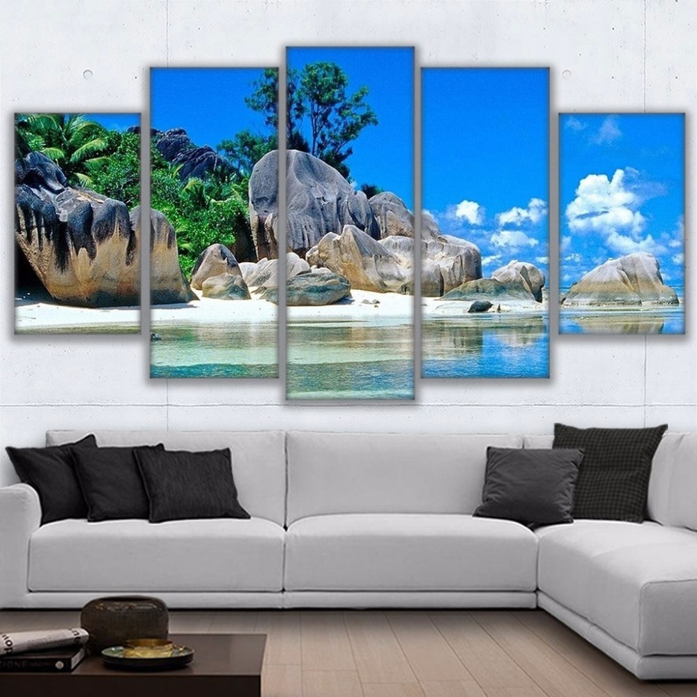 Modular Canvas Printed Pictures Home Decor 5 Pieces Tropical Island Paradise Painting Wall Art Living Room Beach Poster No Frame
