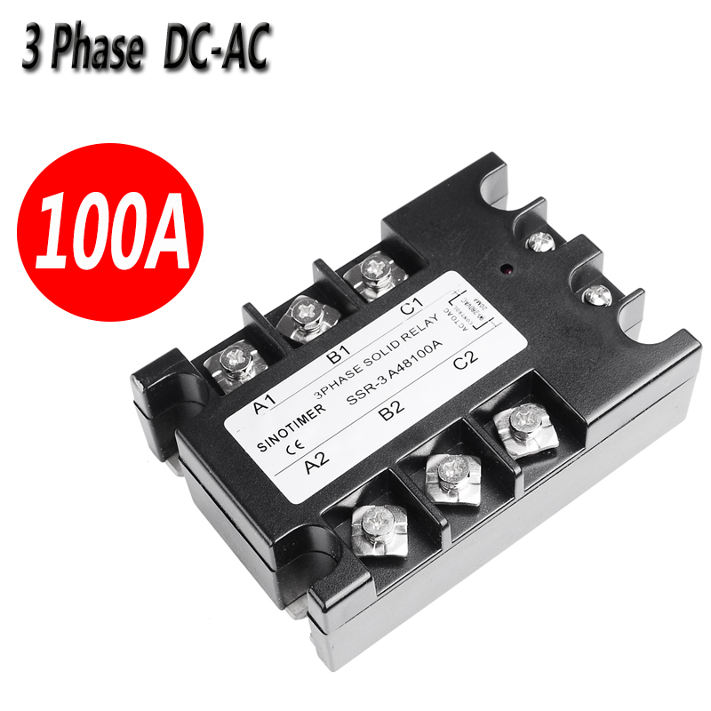 100A 3 Phase Solid State Relay SSR Controller Service D4880A 60A DC-AC 30-480V AC Output Module Switch Relay 3 phase solid state relay 60da ac output 3 32v dc to 30 480v ac 60a module switch relay relais dc ac d4860a
