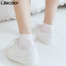 5 Pairs/lot Lovely Shallow Short Socks Bow Knot Sweet Girls 100% Cotton Low Cut Summer Women Footsies Solid colors Sock