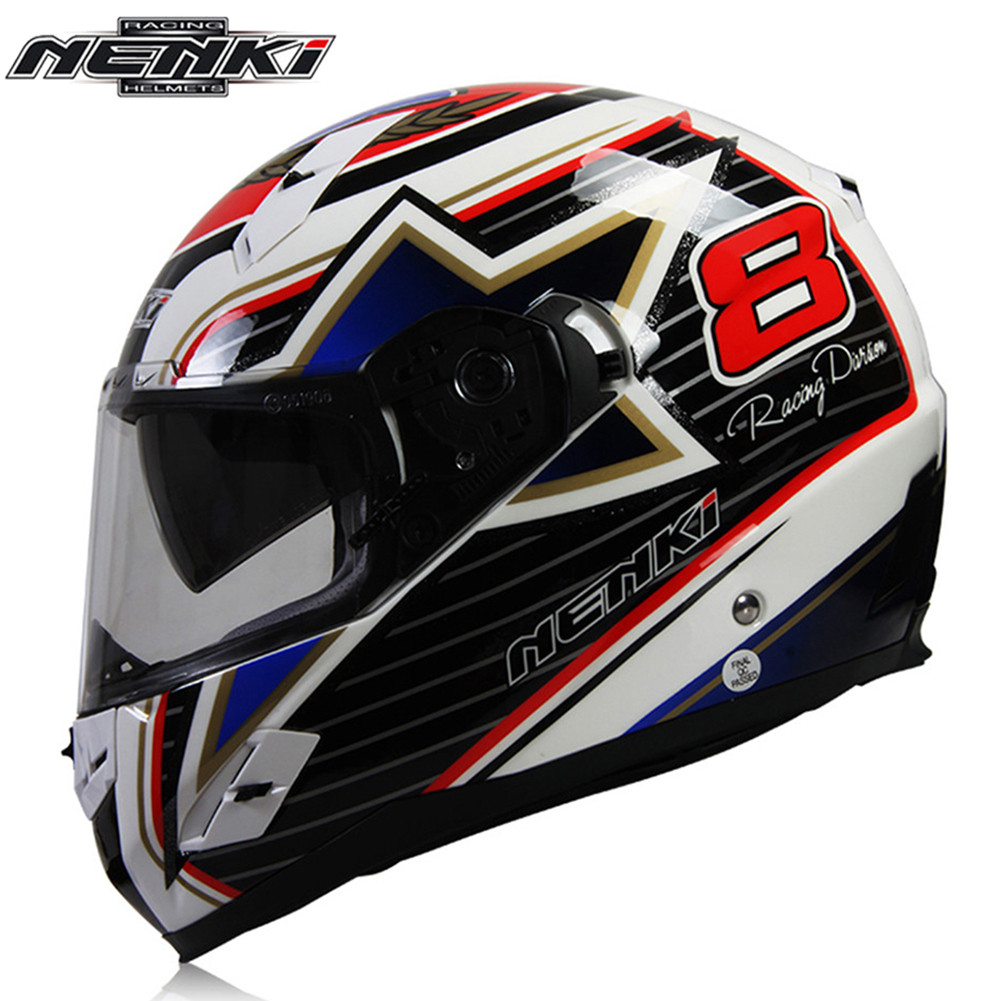 Full Face Motorcycle Helmet Capacetes de Motociclista Moto Helmets for Motorcycle Racing Helmets NENKI 856-2 Fiberglass nenki motorcycle helmets motocross racing helmet motorbike full face helmet capacete de moto for men and women 13 color