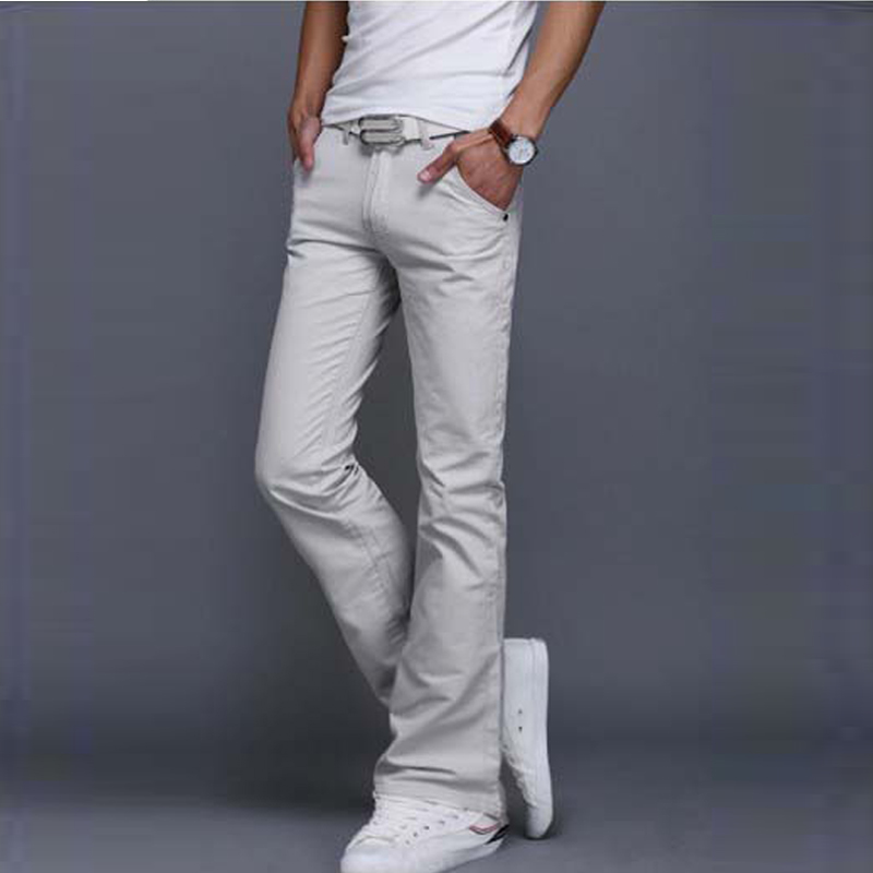 Summer New Fashion Korean Street Style HandsomeYouthful Flared Jeans High Quality Mens Casual Jeans Size 27-40