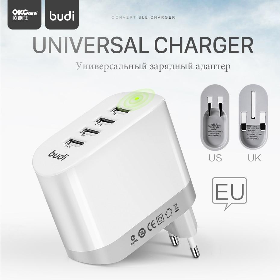 OKCore Universel 4 Ports USB Chargeur 5 V 4.8A Prise Pliage UE US Smart Adaptateur De Charge pour Apple iPhone iPad Samsung Xiaomi