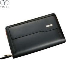 YINTE Leather Men's Clutch Wallets Men Passport Purse Phone Wallet England Style Black Zipper Wallet Men's Wrist Bags T8081-3