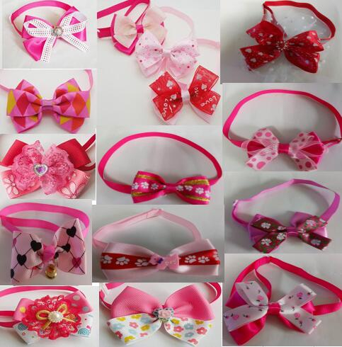 100pcs Lot Big sale Fashion Girl Pet Dog puppy Cat Bow Ties Neckties Bowknot Valentine Grooming