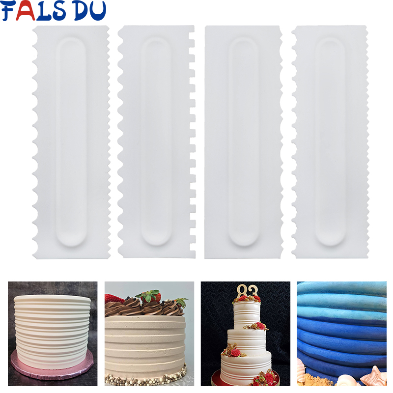 US $2.33 31% OFF|4Pcs/Set Cake Decorating Comb Cake Scraper Smoother Cream  Decorating Pastry Icing Comb Fondant Spatulas Baking Pastry Tools-in Baking  ...