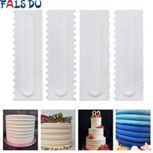 4Pcs/Set Cake Decorating Comb Scraper Smoother Cream Pastry Icing Fondant Spatulas Baking Tools