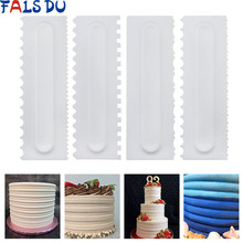 4Pcs/Set Cake Decorating Comb Cake Scraper Smoother Cream Decorating Pastry Icing Comb Fondant Spatulas Baking Pastry Tools(China)