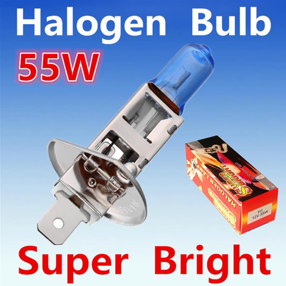 2pcs H1 55W 12V Super Bright White Fog Halogen Bulb Car Headlight Lamp Parking External Lights Xenon Car Light Source 2pcs h1 headlight bulb lamp 12v 55w super white 6000k halogen xenon car styling for ford auto car headlight bulb