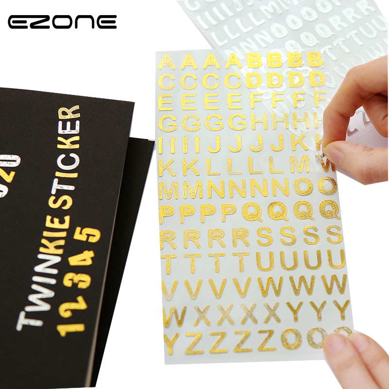 EZONE 1PC Batch Flashing Stickers Gold Silver Number Handwritten Letter Album Diary Scrapbook Diy Stationery School Supplies