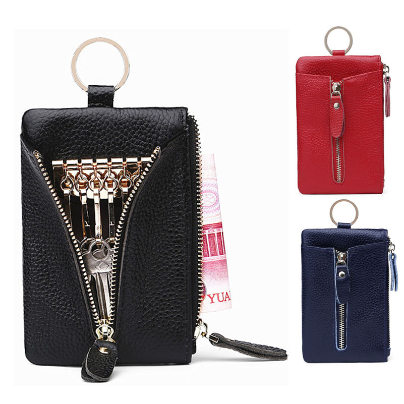 Key Wallet Genuine Leather Coin Purse T Women Keychain Covers Zipper Key Case Bag Men Key Holder Organizer Pouch