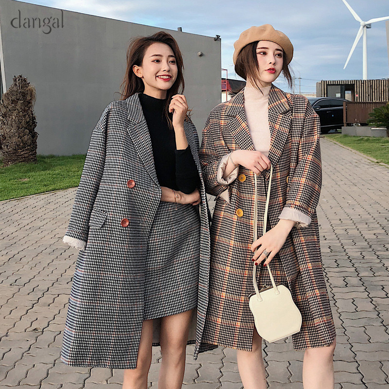 Dangal Womens Two Piece Sets 2018 Autumn Winter Retro Ins Fashion Suit Plaid Wool Coat Plaid Skirt Suit MD-LONG Commuting Suit