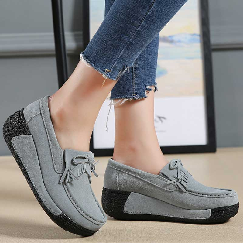 Genuine Leather Shoes Women Flats Platform Shoes Creepers Summer Loafers Moccasins slip On Ladies Flat Casual Zapatos Mujer 2018 цена