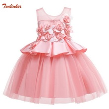 Kids Flowers Dresses Princess Birthday Wedding Party Baby Girl Dress With Bow Costume For Girls Christmas Children Clothes Dress