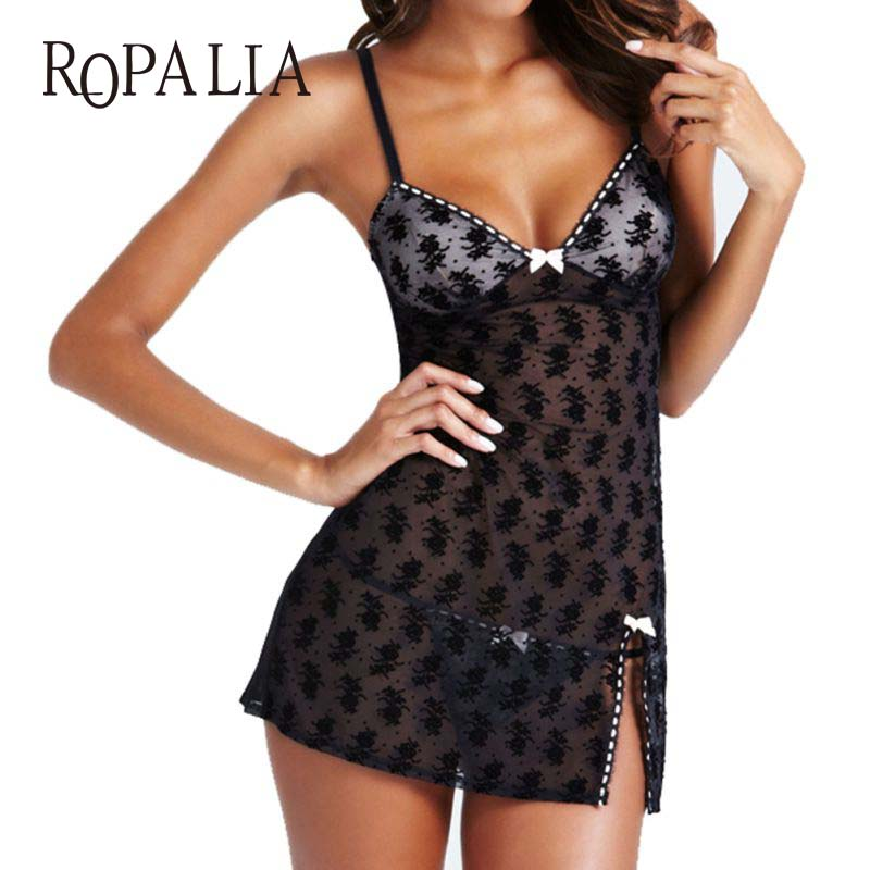 Women Lace Lingerie Dress Nightwear Underwear Babydoll Sleepwear G-string Mini Dress