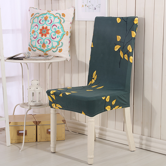 Spandex Elastic Polyester Chair Covers Yellow Leaves Printed Hunter Green For Wedding Party Dining