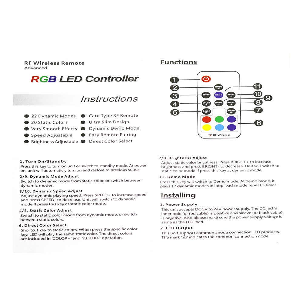 DC5V USB RGB светодио дный контроллер 17key 12A RF Беспроводной мини-пульт дистанционного управления для RGB 3528 5050 smd светодио дный полоска освещения 5-24 В