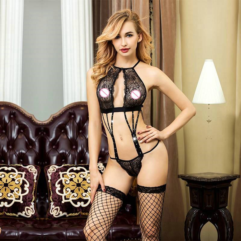 Black Lace Hot Erotic Lingerie Sexy Babydoll Underwear Porno Women's Sex Clothes For Bedroom