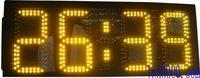 Большие размеры уличные водонепроницаемые 8 дюймов 4 цифры янтарный цвет часов и минут светодиодный часы настенные часы 12 H/24 H Высокая яркос