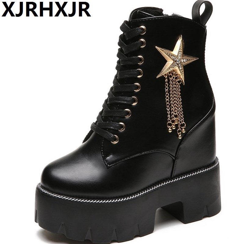 New Women Boots Autumn Winter Short Boots Woman 13CM High Heel Shoes Thick Sole Martin Boots Wedge Ankle Boots Black Metal Shoes цена