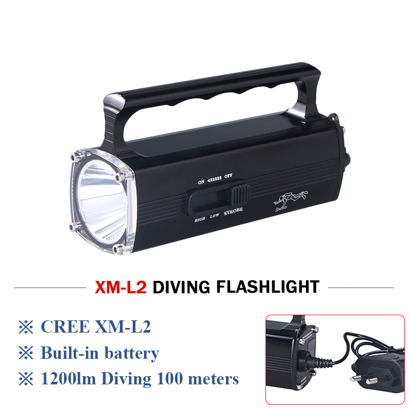 100M diving torch underwater work light cree xm l2 portable spotlight rechargeable led flashlight led flashlights with battery 100m underwater diving flashlight led scuba flashlights light torch diver cree xm l2 use 18650 or 26650 rechargeable batteries