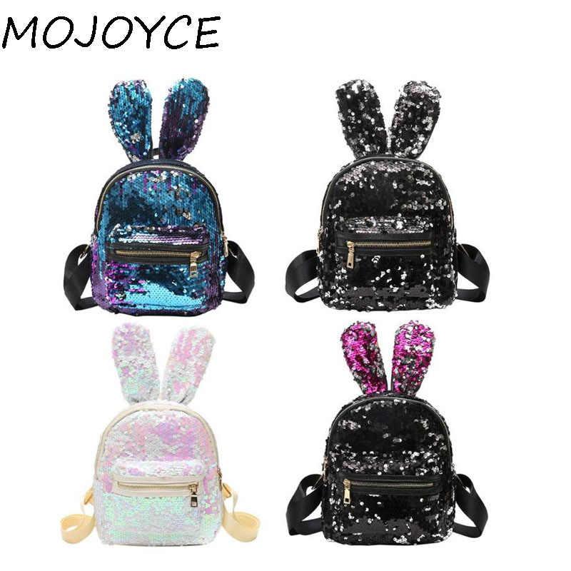 0d65726a8c6c Новые Bling блёстки яркий рюкзак милые большие уши кролика сумка для женщин  Мини рюкзак детей обувь