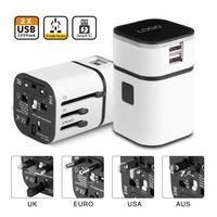 AU US UK EU Plug All In One Universal 2 USB Ports International Plug Adapter